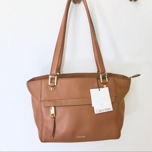 Calvin Klein Cognac Leather Shoulder Bag